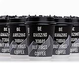 [ Luxus ] Karton Kaffeebecher to go mit doppelter Kartonwand , [ speziell für Heißgetränke ]. 50 Stk. 300ml Coffee to go Becher mit Deckel.[ 100% Gewehrleistung ]. Ein...