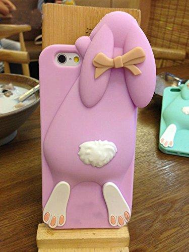 Vandot Fashion Case 3D Silikon Schutzhülle Tasche für iPhone 6 Plus Hülle Buck Teeth Bunny Rabbit Soft Silicone Case Schale Kaninchen Cover - Grau, Karikatur Cartoon Zubehör Set Funny Bucktooth Handyh Bunny Lila