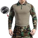 WorldShopping4U Männer BDU Schießerei Kampf Lange Ärmel Camo Hemd mit Ellenbogenschutz Waldland Camo für Militär Armee Airsoft (WL, M)