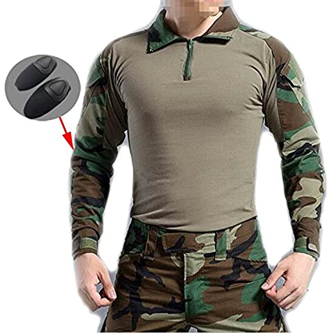WorldShopping4U Hommes BDU Tournage Combat Manche Longue Camo Chemise Avec Coude Coussinet Woodland Camo pour Militaire Armée Airsoft (WL, S)