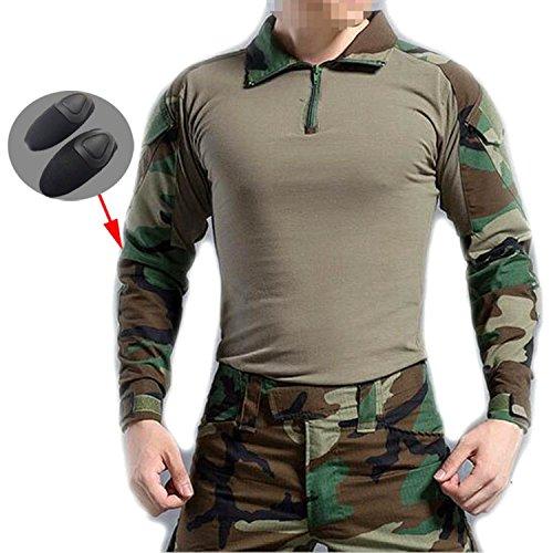 Worldshopping4u uomini bdu sparatoria combattere maniche lunghe camicia camo con elbow pads woodland camo per militare esercito airsoft