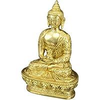 Meditazione Buddha Scultura Dhyan Mudra buddista Décor Brass 7 pollici