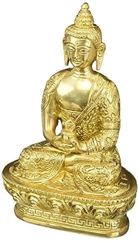 Méditation Bouddha Sculpture Dhyan Mudra bouddhiste Décor Laiton 7 pouces