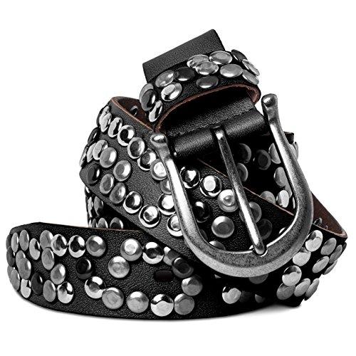 CASPAR GU223L 100% Leder Damen Vintage Gürtel mit Nieten/Nietengürtel, Gürtelgröße:85;Farbe:schwarz