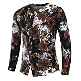 BaZhaHei Herren Langarmshirt Mode für Männer Slim Langarm-Shirt Button Flower Printed Shirt Bluse Top