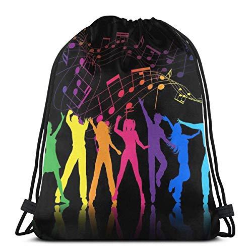 hyg03j4 kjhglp Drawstring Backpack Bag,Cinch Sack,Gym Sack,for Girls Or Men Shopping,Sport,Gym,Yoga,School,Dance with Music