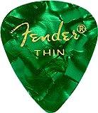 Fender 351 Classic Celluloid Picks 12-Pack (Couleurs assorties) Green Moto (Thin) - Lot de 12 médiators