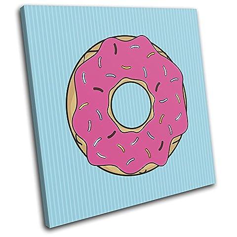 Bold Bloc Design - Americana Donut Food Kitchen 90x90cm SINGLE Leinwand Kunstdruck Box gerahmte Bild Wand hangen - handgefertigt In Grossbritannien - gerahmt und bereit zum Aufhangen - Canvas Art Print