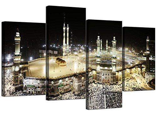 Wallfillers® 4190 Islamisches Leinwand-Bild von der Mekka Kaaba während des Hadsch für Ihr Schlafzimmer-Set aus 4modernen Wand-Kunstleinwänden
