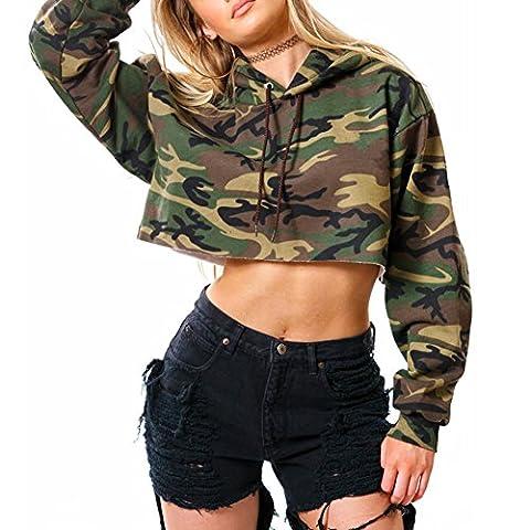 iBaste Womens Polyester Casual Camouflage Hooded Sweatshirt Long Sleeve Crop Tops Hoodies for
