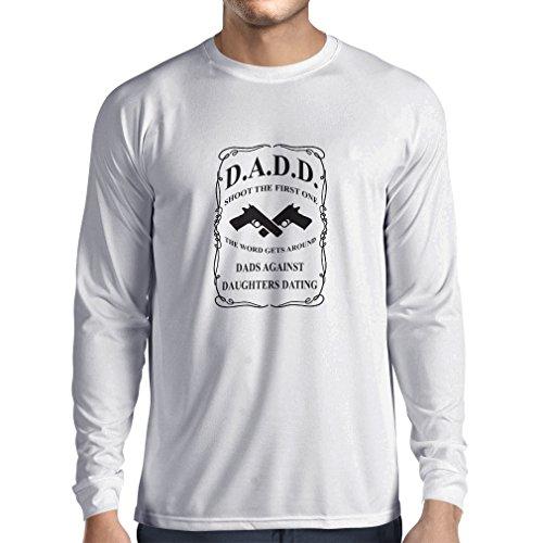 Langarm Herren t shirts Vatis gegen Töchter datieren, die lustige T-Shirts lustige geschenke für papa Vatertagsgeschenke (X-Large Weiß Schwarz) (Reichen Baumwolle-button)