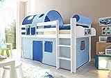 Hochbett Spielbett Malte Kiefer massiv Weiss mit Farbauswahl, Vorhangstoff:Hellblau Dunkelblau