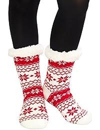 HapiLeap Thermal Slipper Socks for Women Girls - Super Warm Non Slip Knitted Wool House Socks …