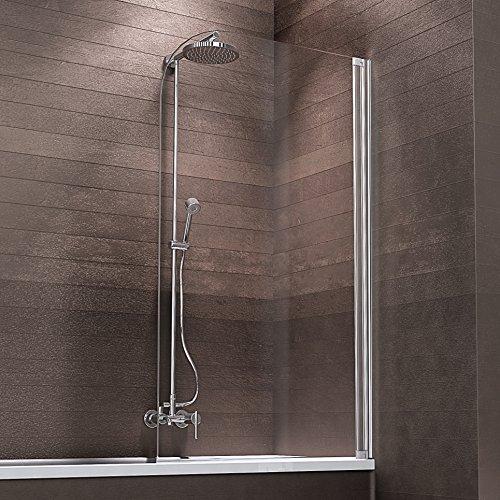 Schulte Duschabtrennung Badewanne zum Kleben Glas 1 teilig 140x81 cm Berlin, 1 Stück, Alu natur