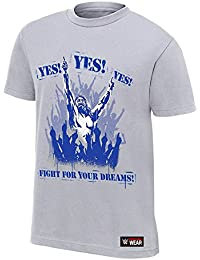 Step Shoes Grey Cotton Half Sleeve Round Neck Black Rubber Print WWE T Shirts For Men(Daniel Bryan T Shirts- Yes...