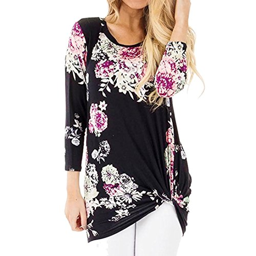 ITISME Damen StrickjackeWomens Casual Three Quarter Sleeve Floral Print Knot Blouses Tops and...