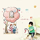 Coppia Romantica Amore Swing Wall Sticker Living Room Divano Sfondo Wall TV rimovibile