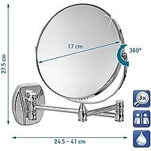 Tatkraft Izolde Espejo de Pared Cosmético Bilateral Telescopico 3X Ampliacion Acero Cromo 17cm