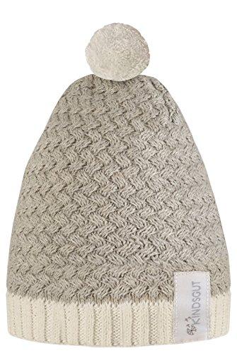 Kindsgut - Gorro con pompón para bebés y niños pequeños, Gris/Blanco