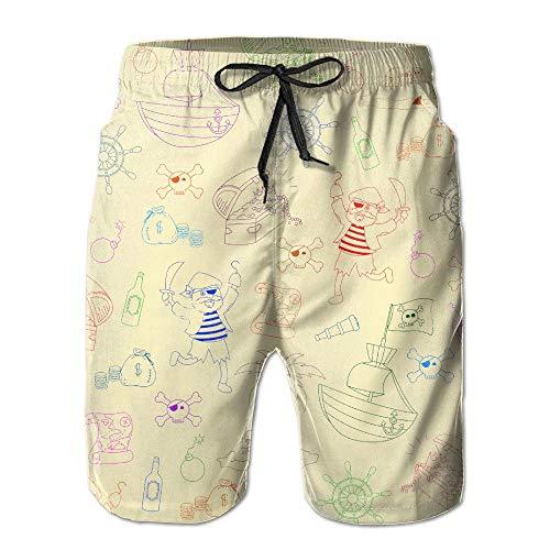 Azfaiop Pirate Compass Treasure Summer Casual Quick-Dry Board Shorts Swim Trunks Drawstring Striped Side Pockets L Treasure Beach Pants