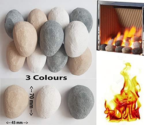 20 gemischte Gas-Feuersteine. Weiß, Grau und Beige Hochwertig, hergestellt in Großbritannien. Geeignet für Gas/LPG/Living Flame Fire - Kieselsteine Gas-kamin