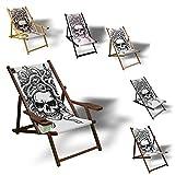 Printalio Skull - Liegestuhl Bedruckt Balkon Garten Sonnenliege Relax Holz Terrasse   mit Armlehne, Dunkelbraun