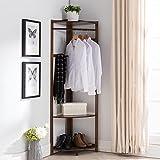HUISHUAI Einfache Eckgarderobe, Trockenregale für europäische Bodenschlafzimmer, Massivholzregale, Multifunktions-Kleiderständer , wood color