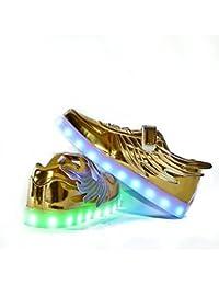 Usay like Envio 24 Horas Zapatillas LED con 7 Colores Luces Carga USB Dorado Ninos Niñas