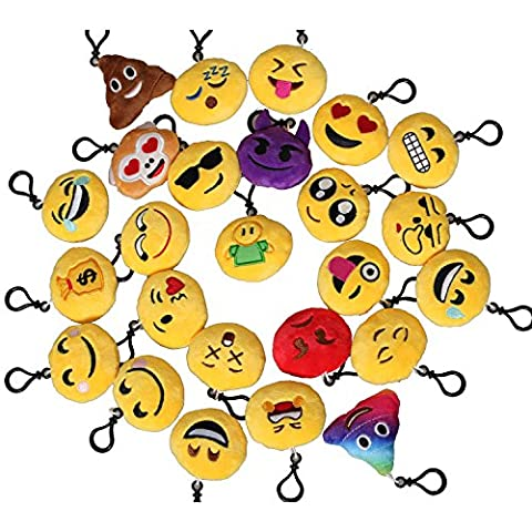 eJiasu Mini Emoji Porte-clés, Décoration Emoji Toy, Mini Pop Jouets en peluche Set pour clés, sacs, bourses, pièces, fêtes et autre lieu
