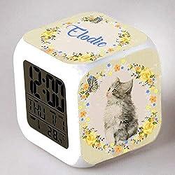 Reveil cube led lumière nuit alarm clock chat personnalisé prénom réf 02
