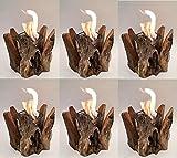 6 er Set Feuerstelle Feuerschale mit Bioethanol, Modell: Marvala aus Teakholz Outdoor, extra stabiles Außenglas, passend für Tische in Cafes, Bars und Restaurants / absoluter Hingucker für den Außenbereich * mit 10 Jahren Glas Stabilitätsgarantie