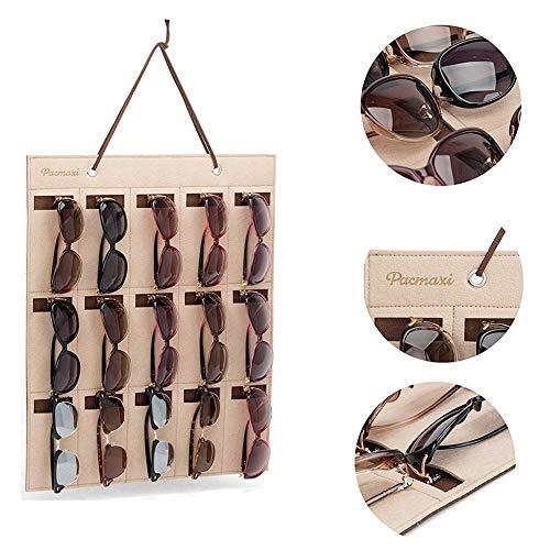 Wandmontierte Sonnenbrille Organizer, 15 Slots Filz Tuch Wandtasche Hängen Brillen Display für Schrank Lagerung