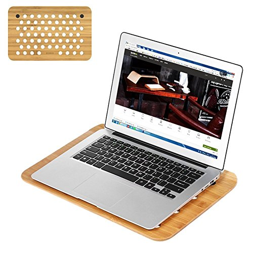 Laptop Tablett, Samdi Bambus Schutzhülle Notebook Tablett Cooling Stand für Laptop, notabook, MacBook, Lenovo, Dell, HP (Runde Halbe Bambus)