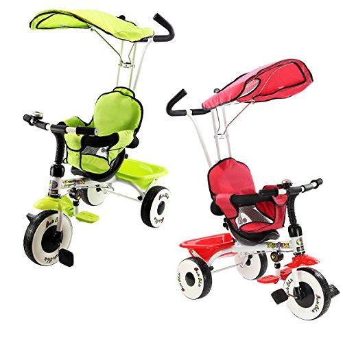 COSTWAY 4 in 1 Dreirad Kinderdreirad Kinderfahrrad Kinderwagen Schiebewagen mit Stange,Sonnendach Farbwahl (Rot)