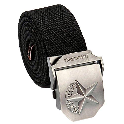 Cosplayitem Uomo Tela Belt Cintura Fibbia Automatica Pericolo Teschio Militare Metallica in acciaio inox Regolabile (120cm, Stella Nero)