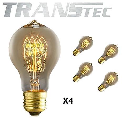 TRANSTEC® A60 Vintage Edison Glühfaden Birne - 40W Glühlampe E27 - Industrie Retro altmodische - Klar Warmweiß 2700K - Edison Dekorative Glühlampen Dimmbar [Energieklasse A ]