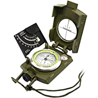 Professional Geology Mapping Compass, UMsky Metal Military Compass Sighting Clinometer Fluorescent Disk Measurable Slope with Carry Bag for Camping Hunting Hiking and Other Outdoor Activities
