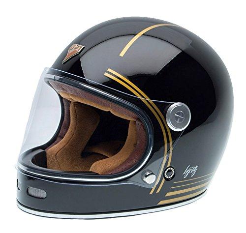 By City -Casco Roadster, stile rétro, in fibra, colore nero e oro, misura S