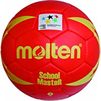 MOLTEN Handball - Pelota de balonmano (cuero, para jóvenes), color rojo/amarillo, talla 1