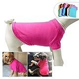 longlongpet - Camiseta, Camiseta para Mascotas, Ropa de Perro, en Blanco, para Perros pequeños, medianos y Grandes, Disfraz de Verano, 9 Colores, 100% algodón