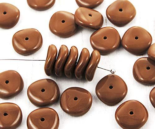 Glas-datenträger (12pcs Undurchsichtige Braune, Runde Scheibe Ein Loch, Tschechische Glas-Perlen-Disc-Unterlegscheibe 12mm)