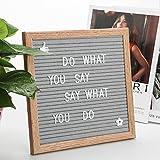 Mini Letter Board Letters Letterboard Buchstaben 25 X 25 cm | Memoboard Vintage Holz, Buchstaben Rillentafel mit Ausziehbarem StäNder, Eiche Rahmen und 340 StüCk WeißE Plastik Briefe, Zahlen & Symbole