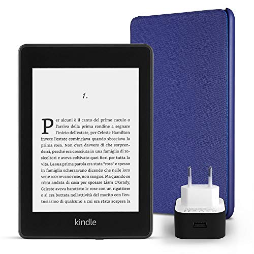 Kit essenziale kindle paperwhite, include un e-reader kindle paperwhite, 32 gb, wi-fi, con offerte speciali, una custodia amazon in pelle (colore: indaco) e un caricabatteria amazon powerfast