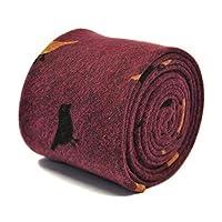 Frederick Thomas dark pink tie with bird design in 100% cotton linen