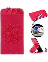 ETSUE- [iPhone 6 Plus/6S Plus] Funda de cuero Caja,Clamshell Funda Piel para iPhone 6 Plus/6S Plus, Flip Shell con Ranuras de tarjeta y ranura de efectivo para iPhone 6 Plus/6S Plus,Retro Moda Fashion [Repujado Datura stramonium motivo ] Funda Case Cuja Caja Cover para iPhone 6 Plus/6S Plus Con Lanyard + 1 x Blue Stylus Pen + 1 x tapón anti polvo (colores aleatorios) - Rosa caliente