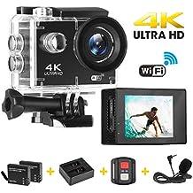 Cámara Deportiva, Acción 4K Ultra HD WiFi Video Cámara/ EIS (Funciones Anti-