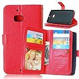 Happy-L-Fall Für Nokia Lumia 930, einfarbig Premium PU Leder Geldbörse Magnetische Schnalle Design Flip Folio Schutzhülle Abdeckung Eingebaute 9 Kartensteckplätze & Ständer (Farbe : Rot)