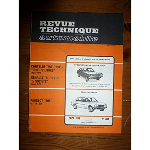 RTA0381 - REVUE TECHNIQUE AUTOMOBILE PEUGEOT 305 GL - GR - SR