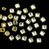 #5: Embroiderymaterial Square Shape Silver Kundans For Jewellery Making,Craft,Embroidery Work & Dress Making- 50 Pcs, 8Mm