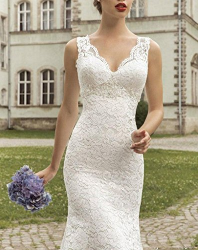 Fanciest Damen Straps Double V Neck Meerjungfrau Spitzen Brautkleider for Bride White Ivory